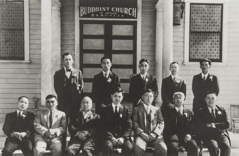 Oxnard Buddhist Church Board of Directors : 1934. Back L-R: Masakatsu Iwamoto, S. Sugano, Jujiro Otsuki, Magoichi Kanda, Kiyoshi Hashimoto. Front: Yokichi Yamashita, Jinsuke Kanamori, Sasaichi Watarida, Rev. Taiken Masunaga, Magoichi Takeda, Tokutaro Moriwaki, Kanzo Mine.