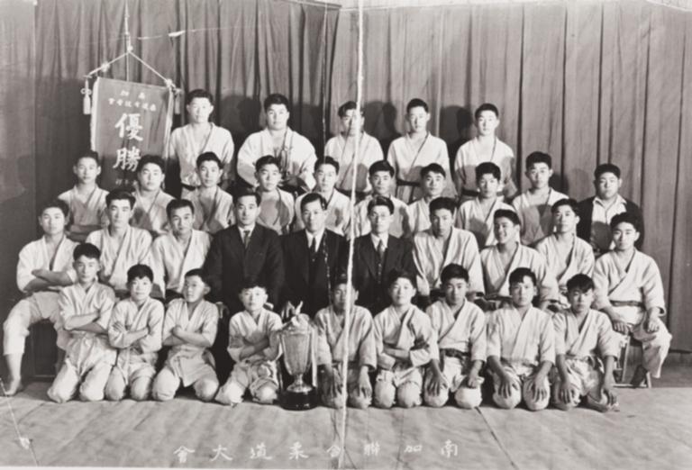 Judo Club Ju-S Sho-Wa, 13th year : Western Street, Santa Maria : 1936 ; 2nd row: 2nd L: Kane Araki ; Top row, 2nd L: Jun Miyoshi.