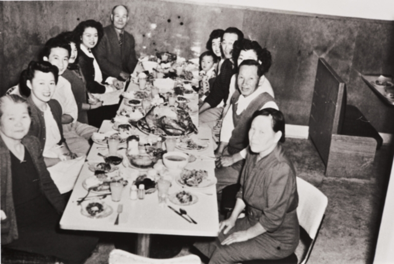Nakano, Aoyama, Kojima and Gyotoku families : Thanksgiving at Snappy Lunch Fountain, Guadalupe : 1947.