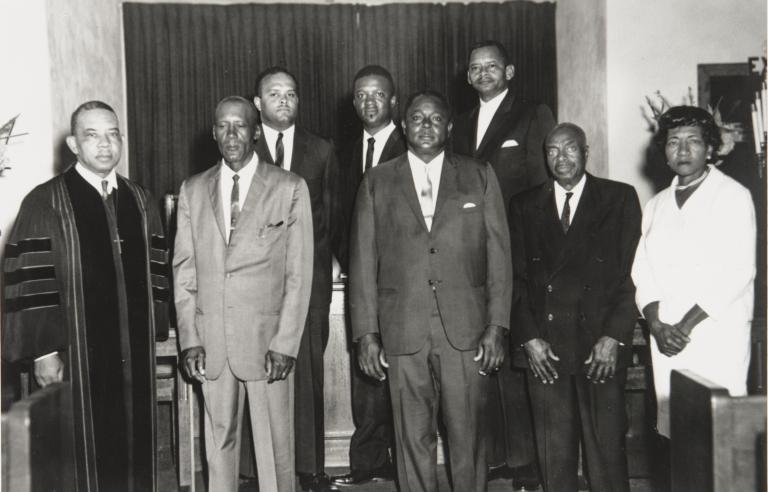 Bethel A.M.E. Church Board of Stewards, Oxnard : 1967 ; front row l. to r.: Reverend C. N. Austin, L. W. Robinson, Anthony Webb, Dee Pinkard, Ruth David; Back row L. to R.: Albert Duff, Bobby Adams, James Kelley.