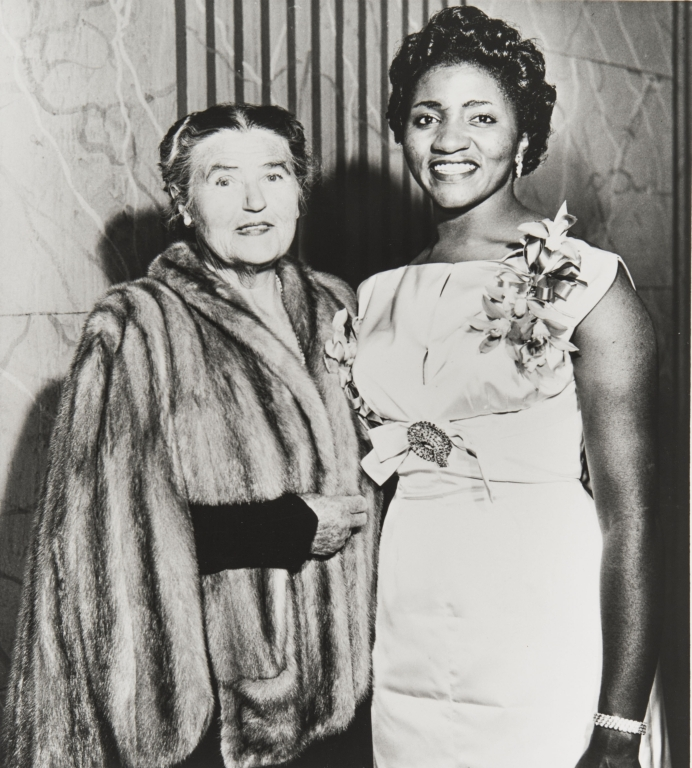 Opera star Grace Bumbry (right) and her teacher Lotte Lehmann, the renowned German diva who fled the Nazis and later taught at the Music Academy of the West. Miss Bumbry studied with Mme. Lehmann during the late 1950s and early 1960s.