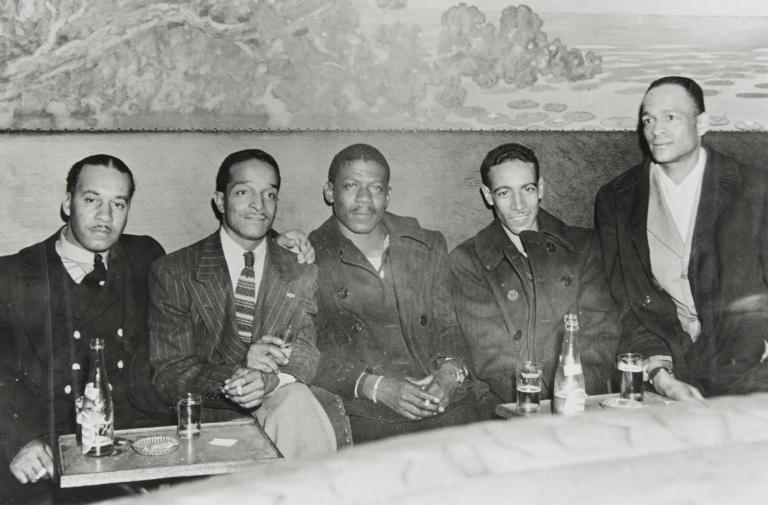 "Santa Barbara Servicemen of W. W. II meet at the Chinese Pagoda Restaurant in San Francisco in November 1945 ; l. to r. : C. A. Mickey, George Farmer, ""Blue,"" Charles ""Skip"" Rhea, and Fox."