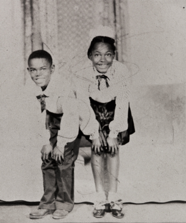 """Leroy """"Buddy"""" Gibson and his sister, Louise Gibson, tap dancing team, just before appearing on the Ted Mack Amateur Hour : 1948 ; students of the Ted Russell Dancing Studio in Ventura, the brother and sister advanced as a professional dancing team."""