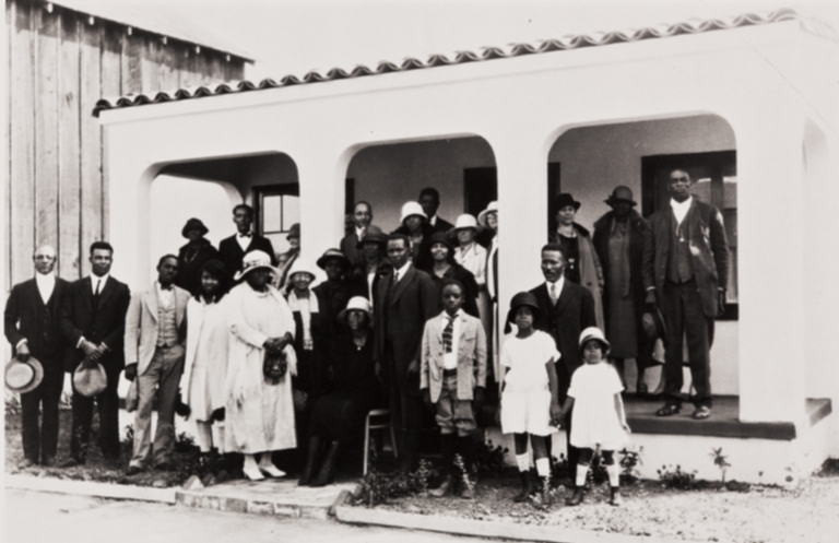 A gathering at a Santa Barbara home in 1926 ; civic leader Pearl Chase is standing third from right.