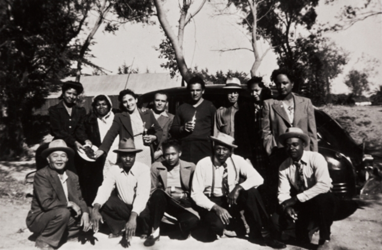 Guadalupe Park : 1946 ; among those present: Estar Campbell, M. and Steve Brown, Lonnie Hamilton, Arthur J. Brown, Ernest Black, Tommie Brown and Ernestine Black.