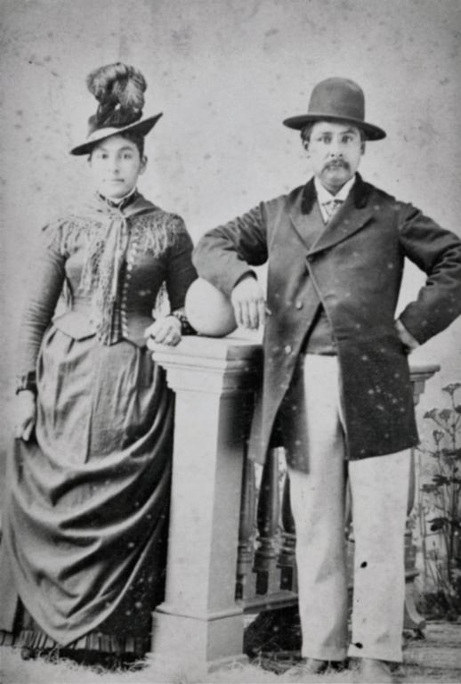 Francisca Ortega and Juan Barrios, both of half-Chumash ancestry, possibly their wedding portrait in 1888. J. C. Brewster photo.