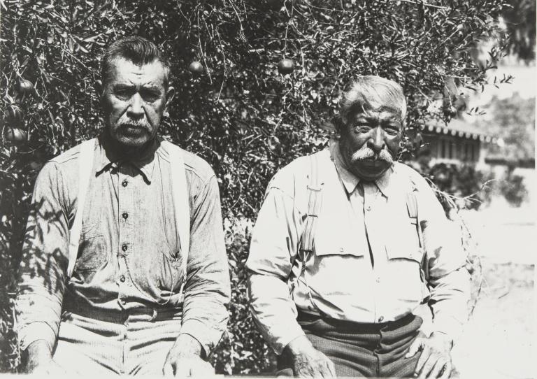 Francisco More and Jose Juan Olivas at Saticoy : 1931. Both were raised at the Ventureño Chumash Community at Saticoy in the 1860s.