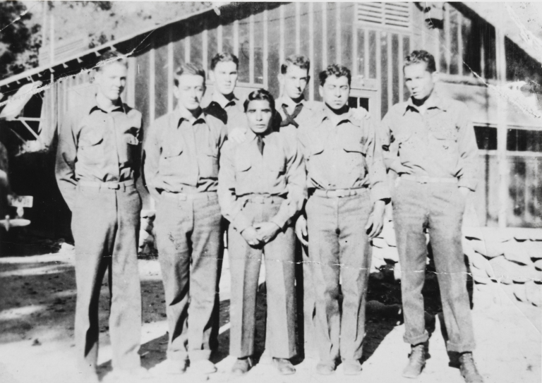 Vincent Tumamait (center) and fellow members of the Civilian Conservation Corps (CCC) camp at Los Prietos in what is now Los Padres National Forest : ca. 1935.