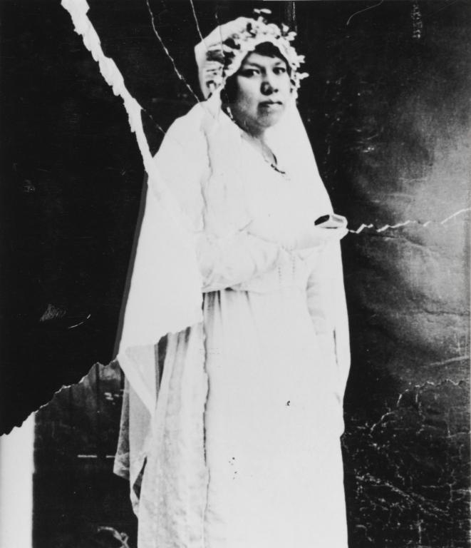 Vera Ortega at confirmation : ca. 1915, daughter of Antonio María and Isidora Ortega.