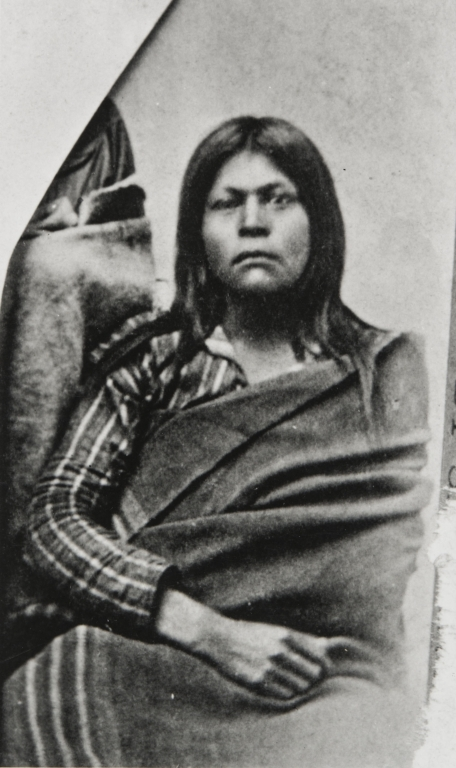 Possible portrait of Juana María, the Lone Woman of San Nicolas Island : 1853 (?). This image was owned by Hayward and Muzzall, photographers, Santa Barbara, and found with a picture of Mrs. George Nidever with whom Juana María lived after she had been brought to the mainland.