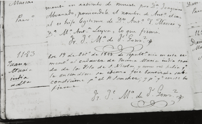 Burial entry for Juana María, the Lone Woman of San Nicolas Island : October 19, 1853, in the Libro de Difuntos (Book of Deaths) at Santa Barbara Mission. The entry states that no one could understand her language, so her baptism was bestowed conditionally by Fr. Sánchez.