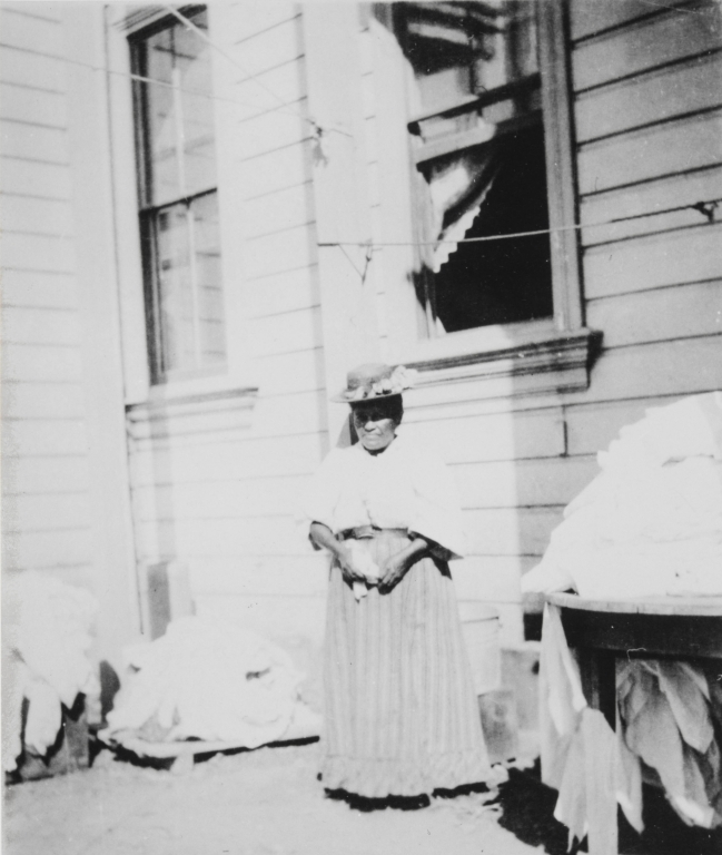 Francisca Solares at the Old College Hotel in Santa Ynez. Francisca was the great granddaughter of Yanonali, Chief of the Chumash town of Syuxtun at the time of the founding of Santa Barbara. Photo by Cristina Moller : 1906.