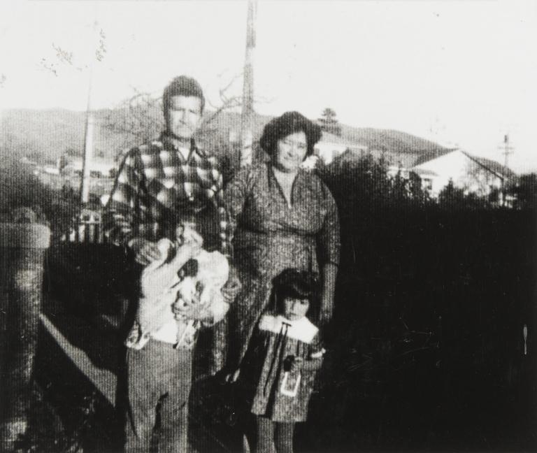 Ubaldo and Lydia Ballesteros with two of their children. Ubaldo Ballesteros was part Tuxcan Indian from Mexico. Lydia Ballesteros (née Escalante) was of Chumash and Salinan Ancestry.