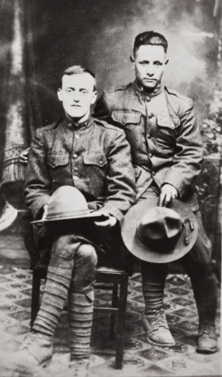 John A. Barrios (on viewer's right) and friend in uniform, World War I.