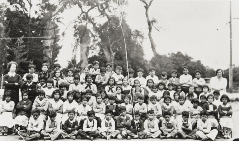 "Class portrait at the ""Mexican School"" in Carpinteria."