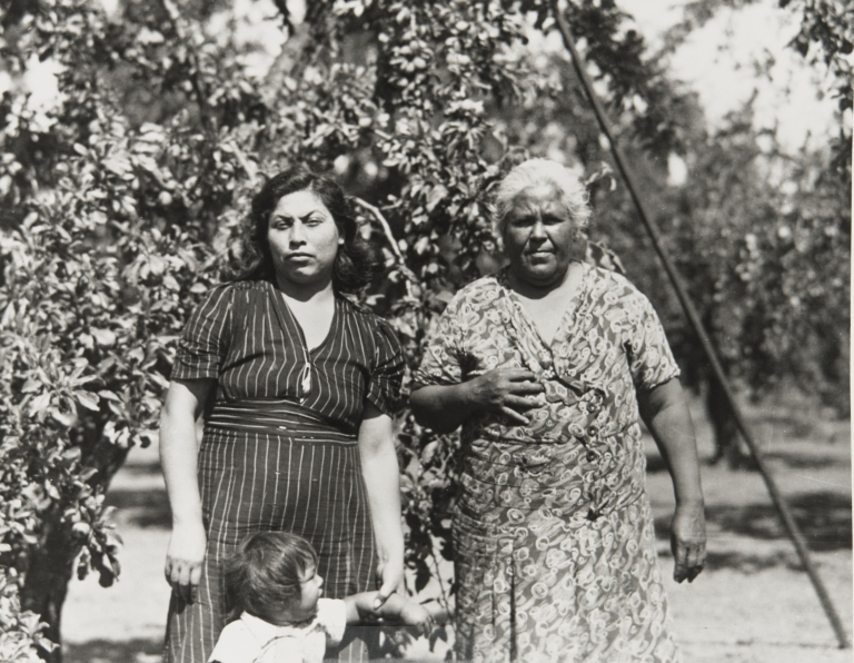 Mother and grandmother in a walnut grove.