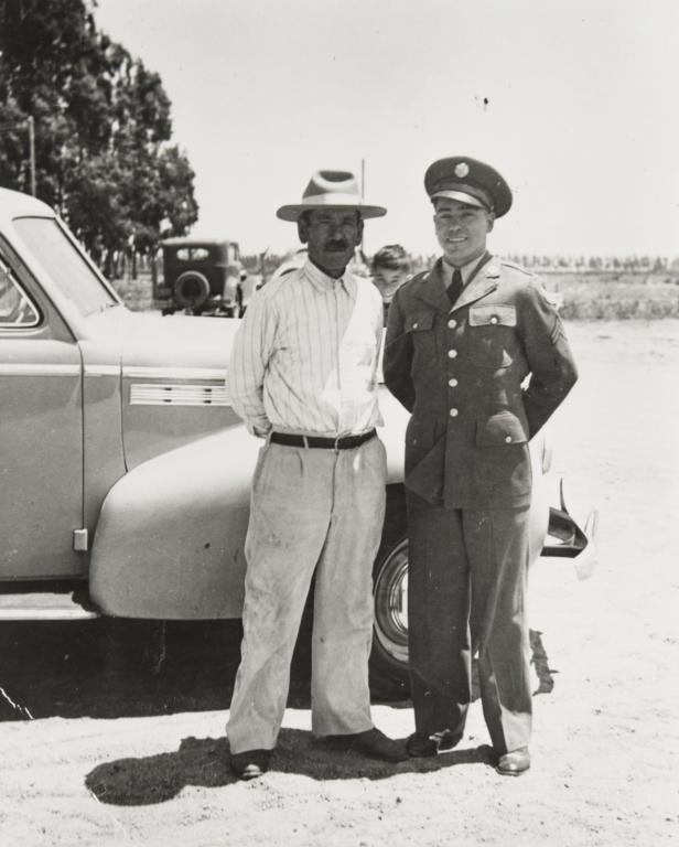 Pat Hernandez and his dad, World War II.