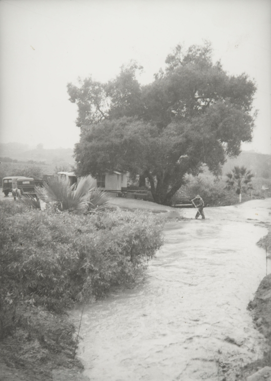 Fernando Ramirez at Rincon Creek, 1969 flood.
