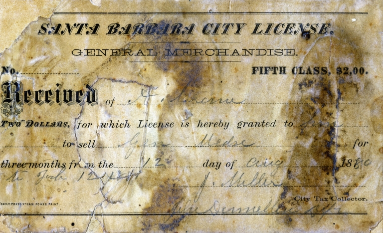 Santa Barbara City License, August 12, 1880