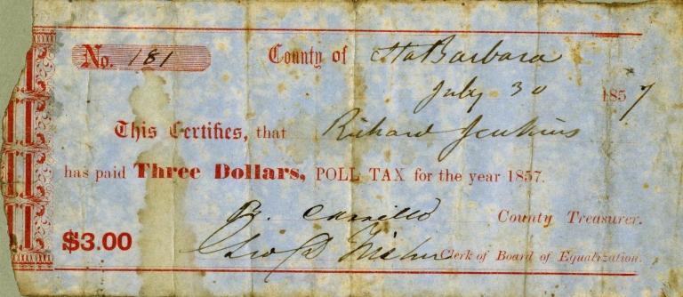 Poll Tax Receipt, July 30, 1857