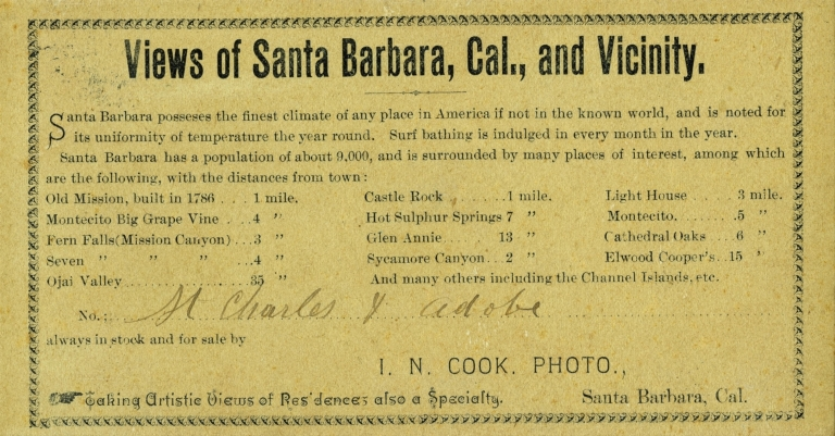 I.N. Cook, Photographer's Advertisement
