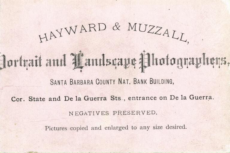Hayward & Muzzall, Photographer's Advertisement