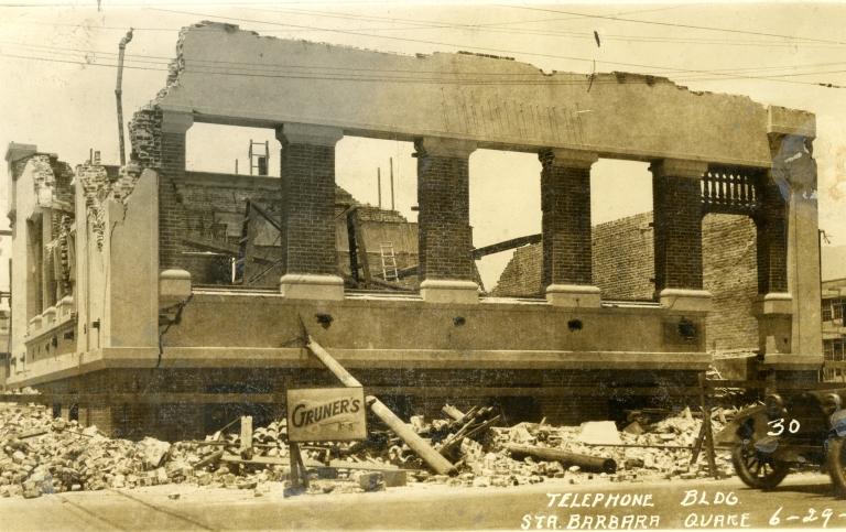 Santa Barbara 1925 Earthquake Damage - Telephone Building