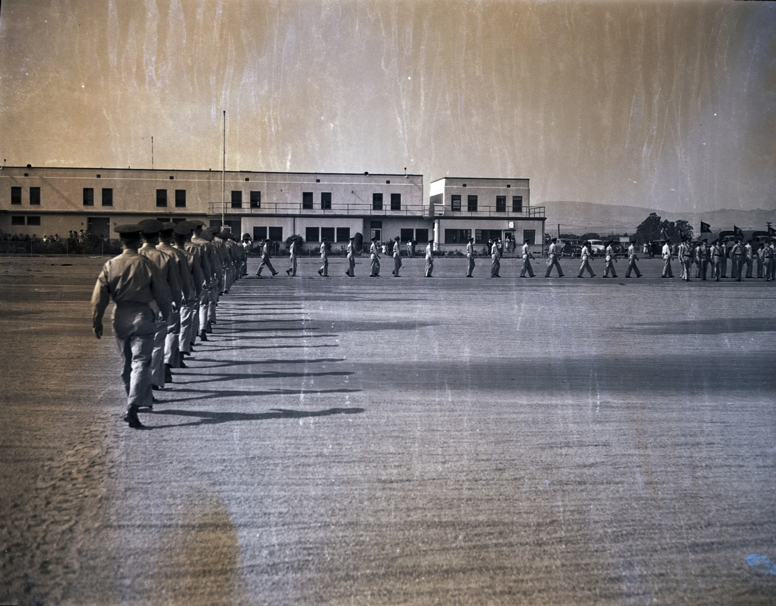 Cadets marching at Hancock Field