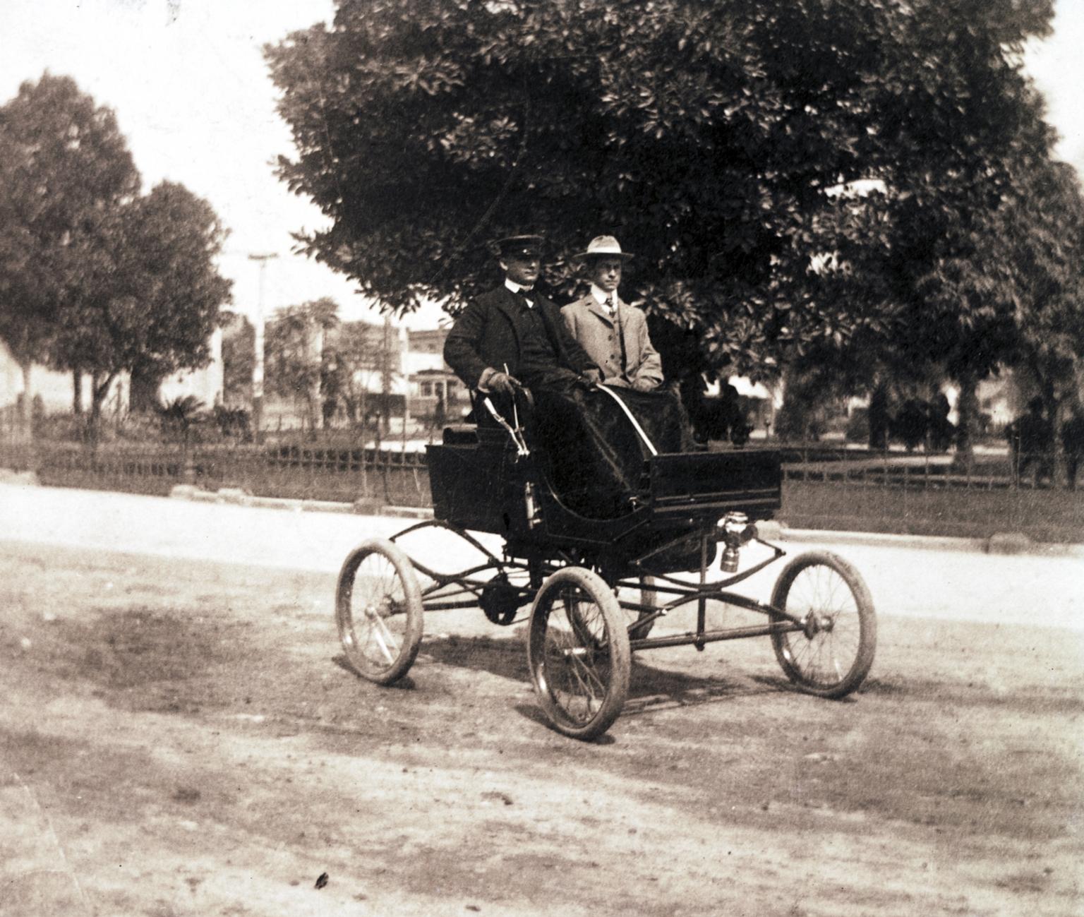 G. Allan Hancock driving his 1900 Milwaukee Steam Runabout