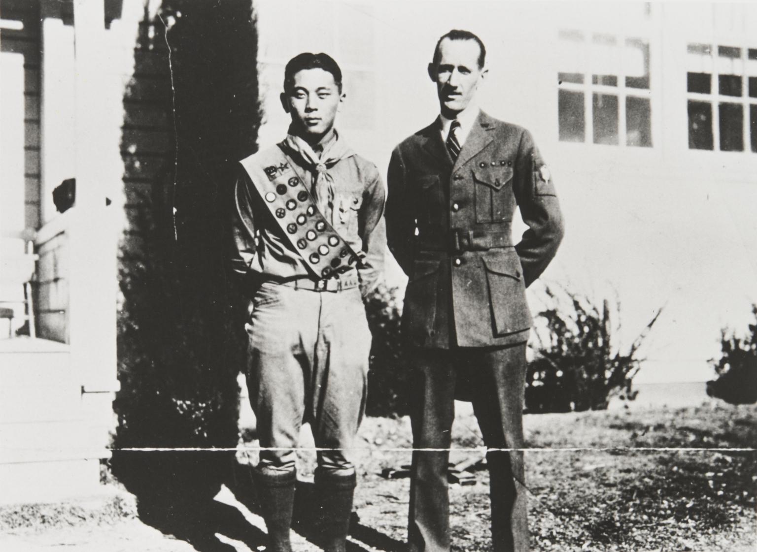 Paul Kurokawa, Eagle Scout with Scout Leader, Mr. Wilcox : 1931.