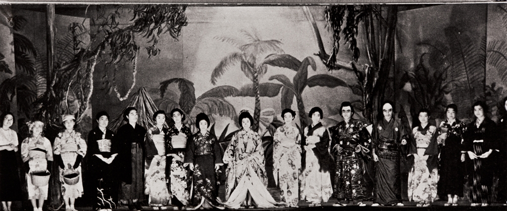 Japanese Fashion Show : Jamboree, Lompoc High School, La Purisima : 1936 ; ten percent of the 1936 class graduating from Lompoc High School was Japanese ; the influence of the Orient prevailed when the students chose to include a Japanese Fashion Show in their Jamboree ; yearbook photo, 1936.