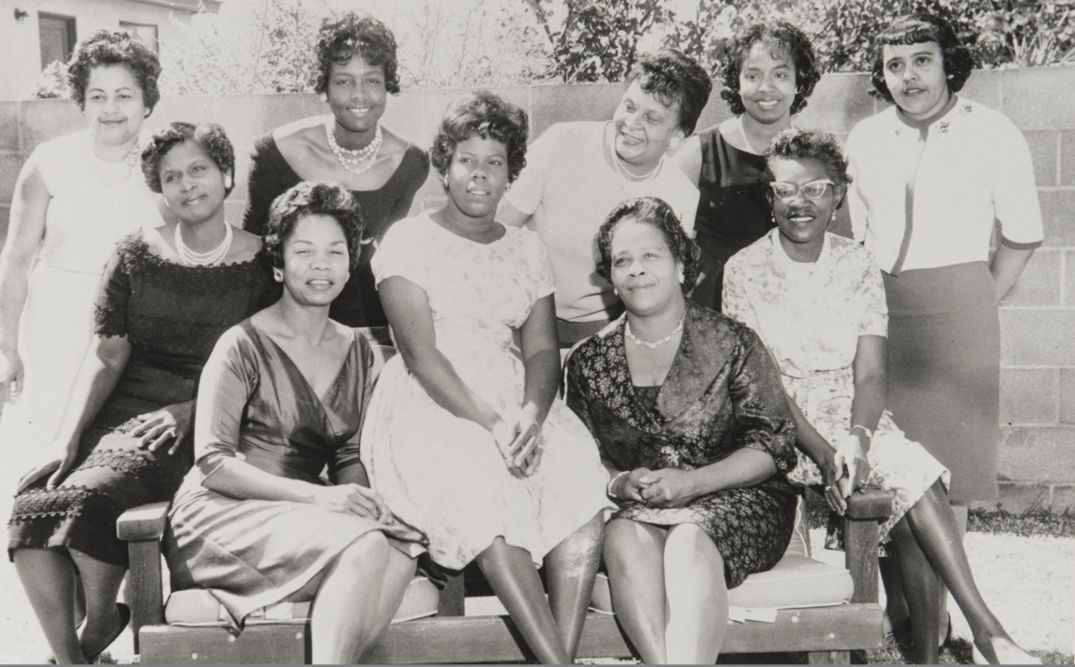 Members of the Twentieth Century Onyx Club : 1963 ; a social and philanthropic group founded in 1961 by Ruth Gibson. Standing L. to R.: Thelma Calhoun, Lona Fountain, Mary Mason, Mary Jordan, Gloria Thomas. Seated L. to R.: Elsie Kelley*, Geraldine Lyghts*, Faye Brown, Marguerite Milton, Ruth Gibson*. *Charter members. Other charter members not included in this picture are Mattie Adams, Mildred Morrison, W. Margaret Tatum, Elsie Johnson and Patricia Goone.
