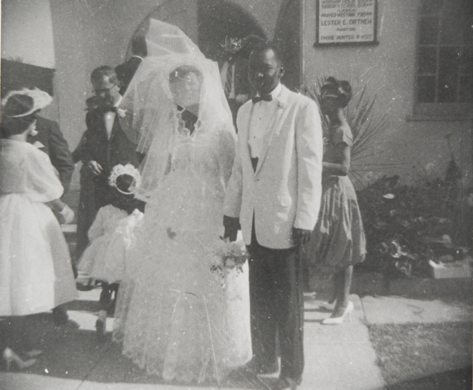 Wedding of Juanita and Maurice Prince, Seventh Day Adventist Church, Santa Maria : July 3, 1967.