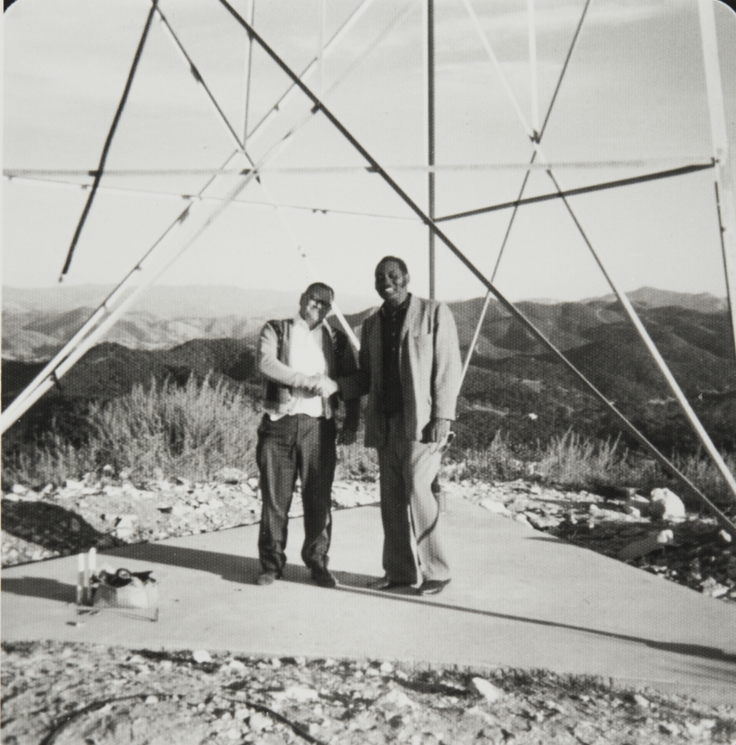 Base of radio tower ; Bernie Dacus and Phil Wilson, Bull Canyon Road.
