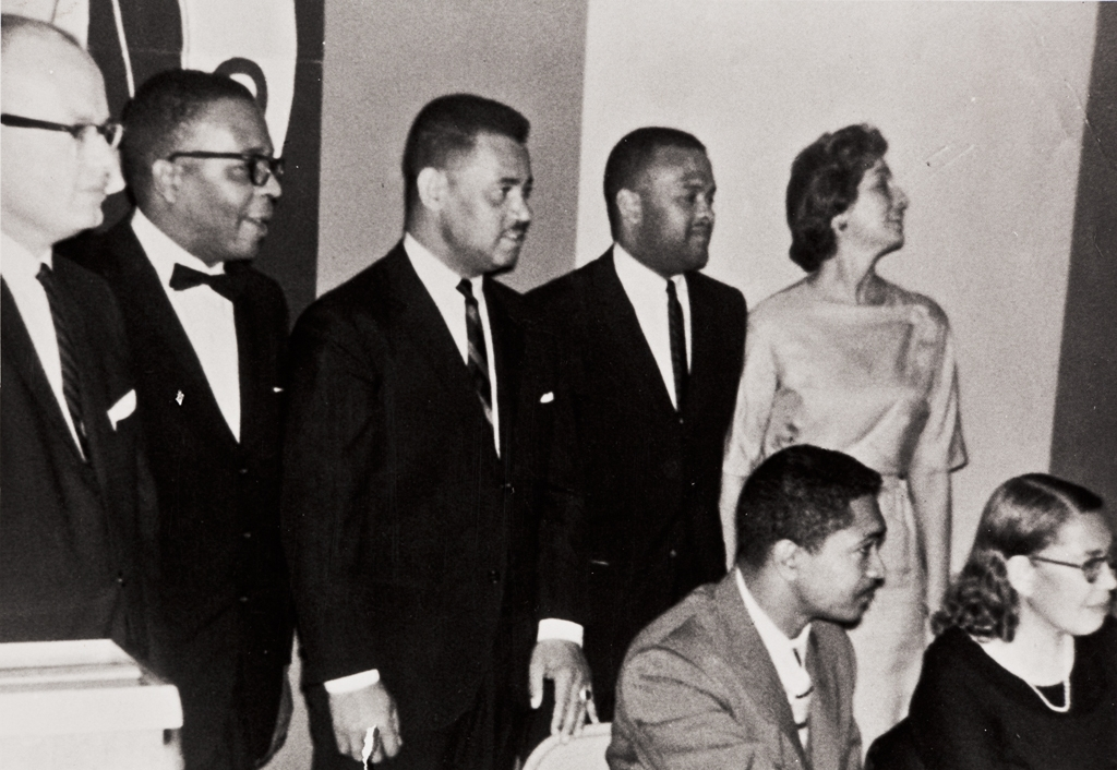 Installation of officers, NAACP Oxnard-Ventura Branch : 1963 ; back row L to R: John Flynn, Fred Jones, Pres., Bert Hammond, Albert Duff, Treas., Jan Kelsey ; seated L to R: Assemblyman Mervyn Dymally, May Davis, Secretary.