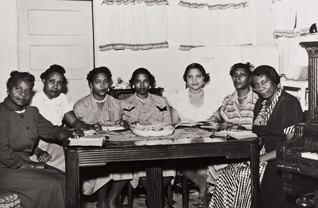 Early workers at Olivet Baptist Church, Ventura ; L to R: Annie Walker, Bevvie May Bryant, Marguerite Milton, Letha Moore, Iranna Smith, Annie Smith and her sister Cerisa Westly, the last two being among the founders of the church.