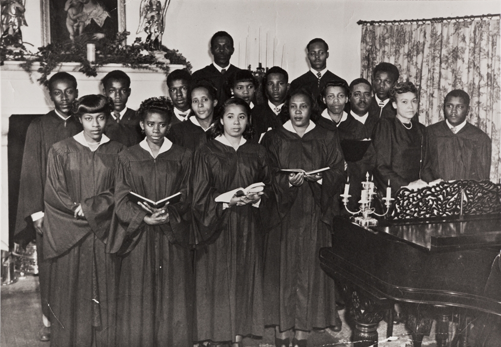 Choir of the Bethel Church of God in Christ giving a Christmas program at a Montecito , California home in the 1950s.