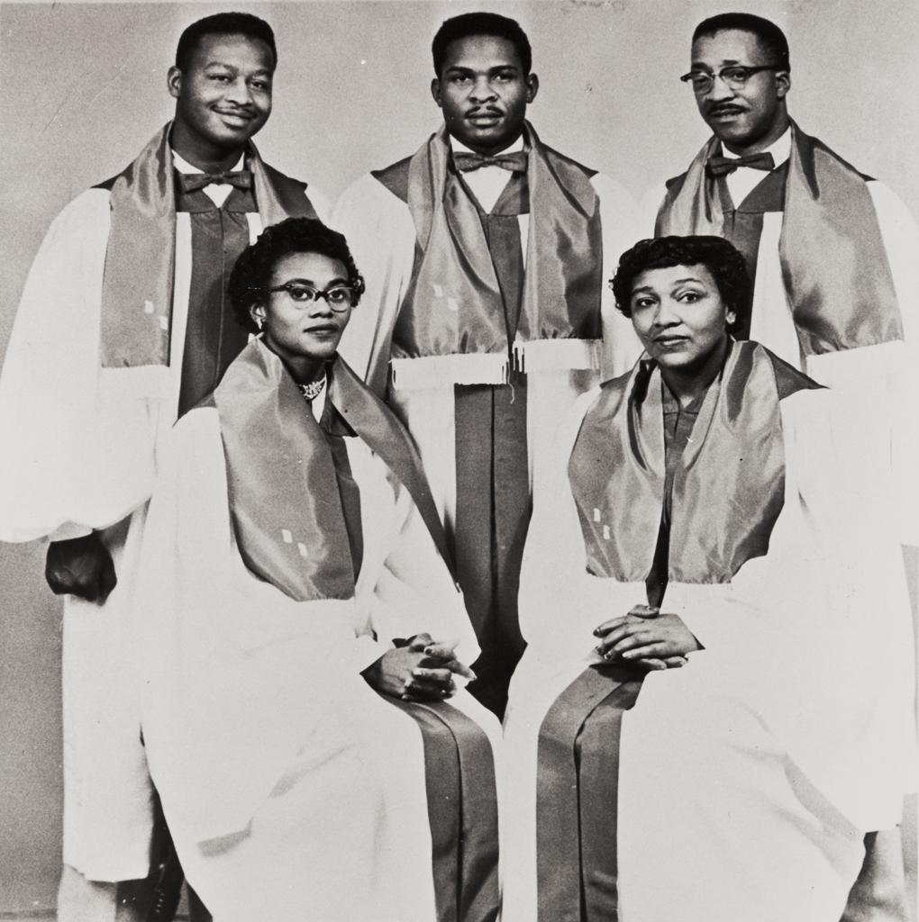 Du Mont Gospel Singers, San Luis Obispo Springfield Baptist Church ; front row: Flo Douglas and Virginia Norman ; back row: Garnett Hopkins, Jr., W. Norman and John Anderson.