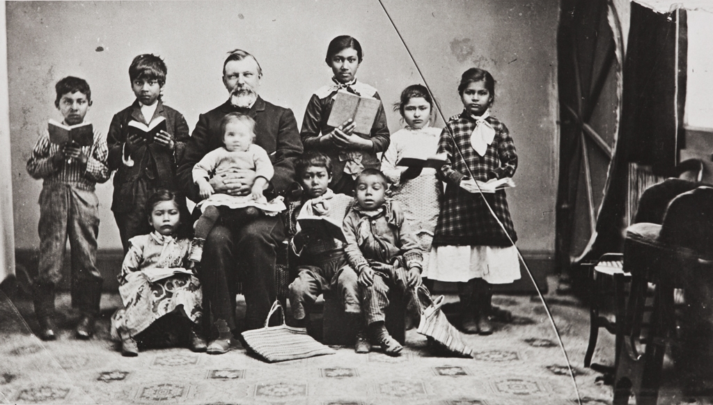 Mission teacher and Indian pupils : 1885.