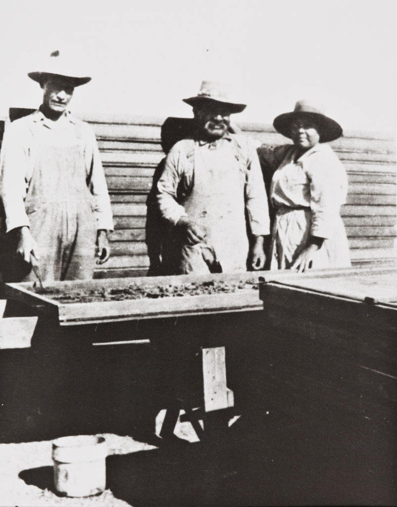 Cecilio Tumamait (center) and his wife, María Basilisa Tumamait (née Barrios), drying apricots in the late 1920s ; the man on the viewer's left is Patrick Palomino.