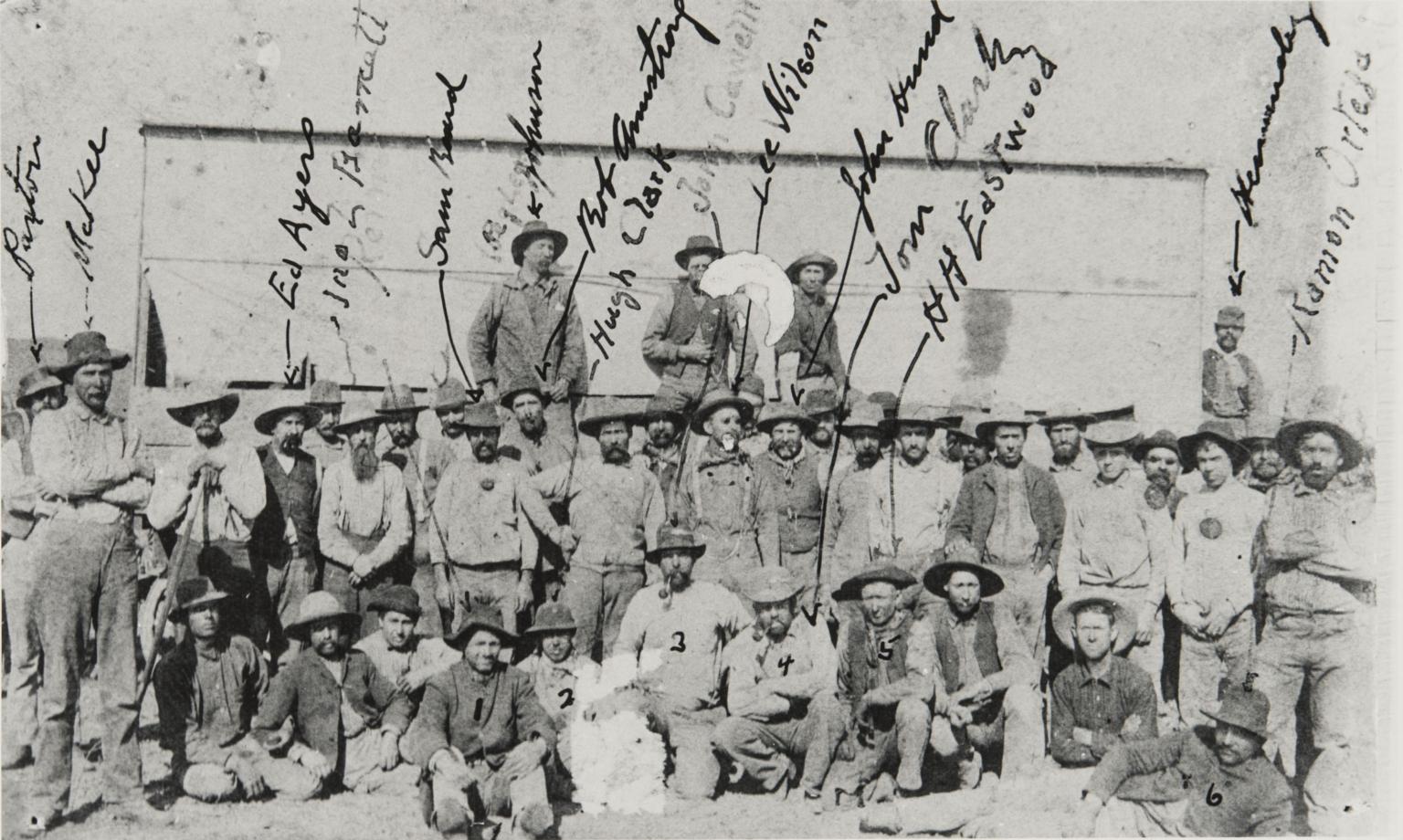 Ramon Ortega with threshing crew.