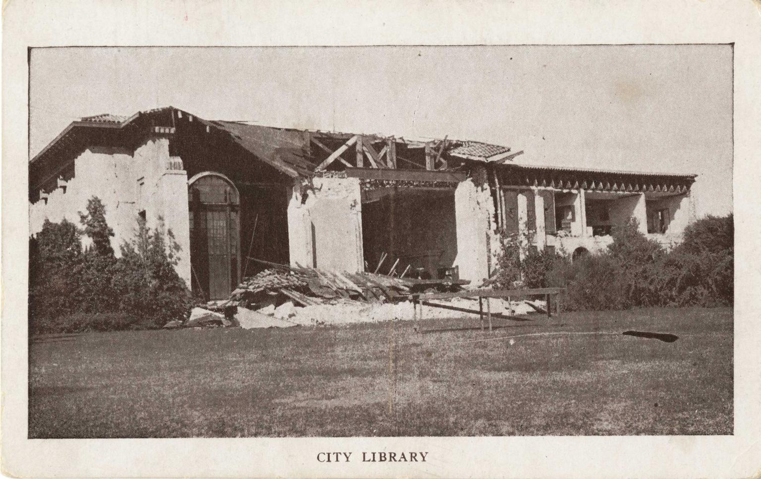 Santa Barbara 1925 Earthquake damage - City Library