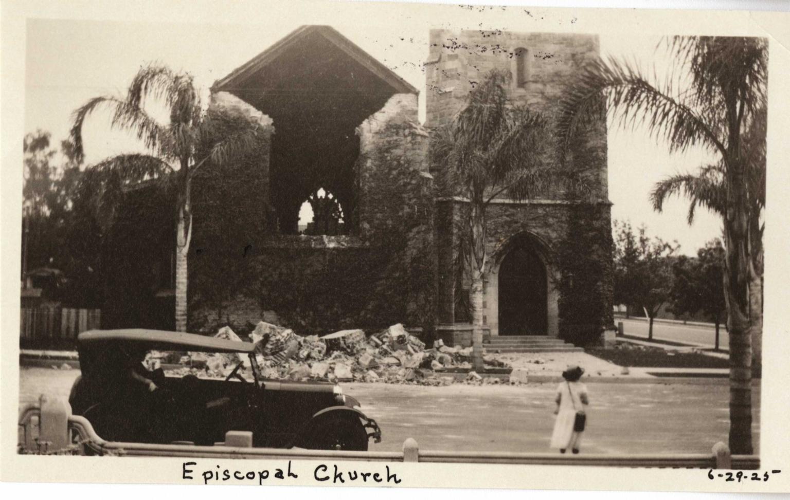 Santa Barbara 1925 Earthquake damage - Episcopal Church